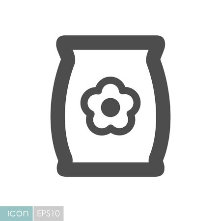 Bag, sack flower seed flat icon. Garden sign. Graph symbol for your web site design