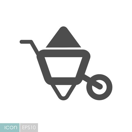 Wheelbarrow carts flat icon. Garden sign. Graph symbol for your web site design Stock Illustratie