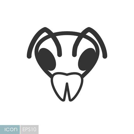 Bee wasp bumblebee icon. Animal head vector symbol