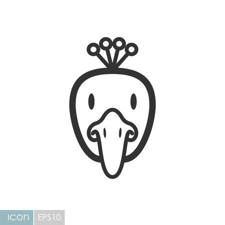 Peacock icon. Animal head vector symbol