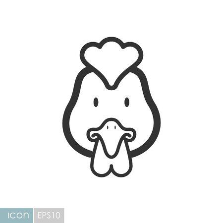 Chicken icon. Animal head vector illustration, eps 10