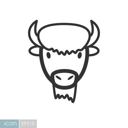 Bison bull buffalo ox icon. Animal horned head vector symbol