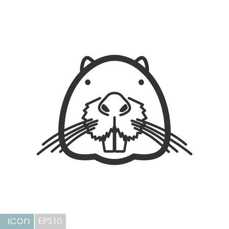 Otter beaver icon. Animal head vector symbol