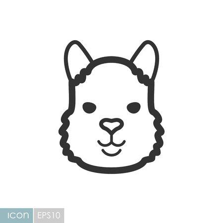 Lama alpaca guanaco icon. Animal head vector symbol Illusztráció