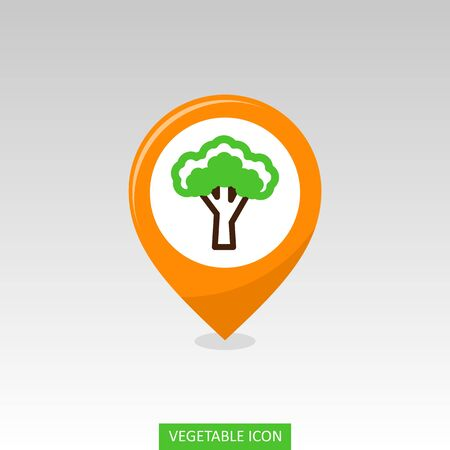 Broccoli flat vector pin map icon. Map pointer. Map markers. Vegetable vector illustration eps 10