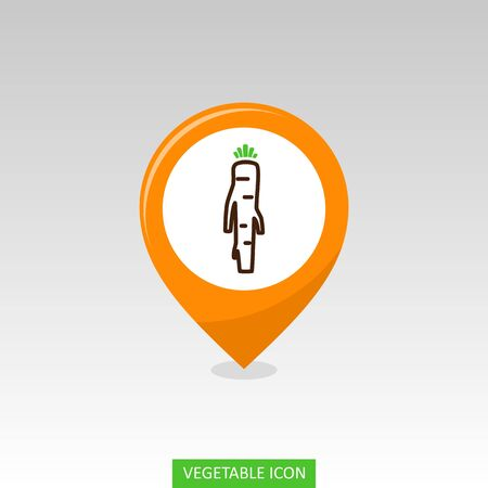 Horseradish flat vector pin map icon. Map pointer. Map markers. Vegetable root vector illustration