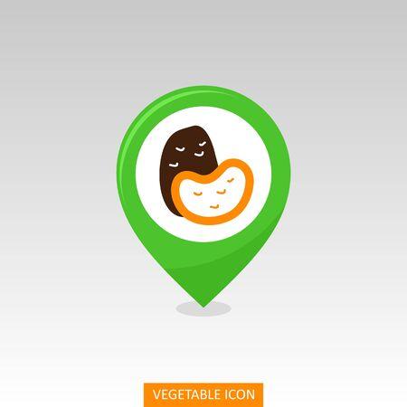 Potato flat vector pin map icon. Map pointer. Map markers. Vegetable vector illustration eps 10 Illusztráció