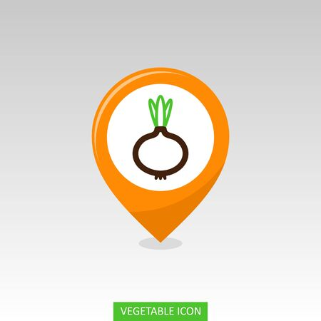 Onion flat vector pin map icon. Map pointer. Map markers. Vegetable vector illustration eps 10