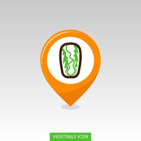 Chinese Cabbage flat vector pin map icon. Map pointer. Map markers. Vegetable vector illustration