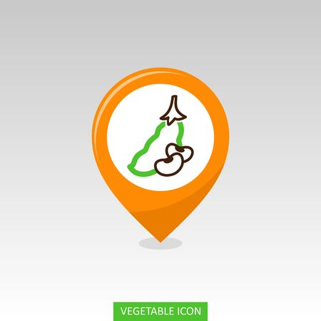 Beans flat vector pin map icon. Map pointer. Map markers. Vegetable vector illustration eps 10