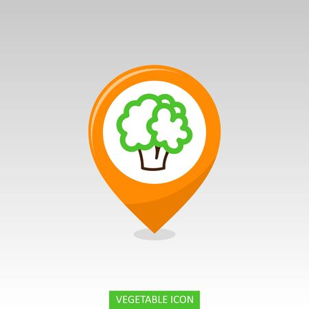 Cauliflower flat vector pin map icon. Map pointer. Map markers. Vegetable vector illustration eps 10