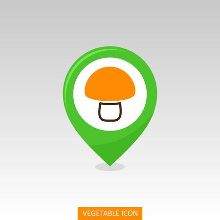 Mushroom flat vector pin map icon. Map pointer. Map markers. Vegetable vector illustration eps 10
