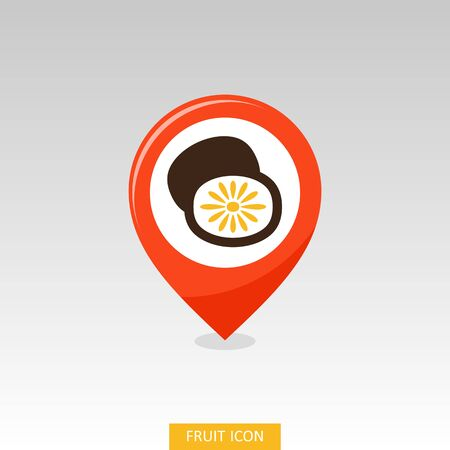 Kiwi fruit, kiwifruit or Chinese gooseberry pin map icon. Map pointer. Map markers. Vector illustration for food apps and websites Illustration