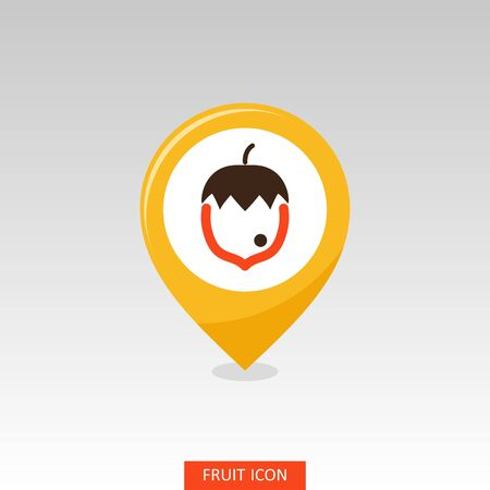 Hazelnut, Nut pin map icon. Fruit Nut sign. Map pointer. Map markers. Vector illustration for food apps and websites