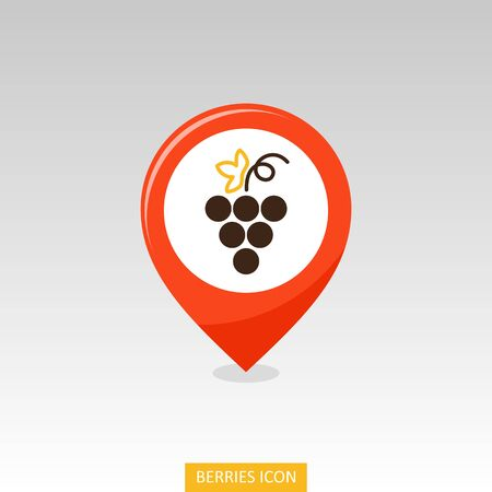 Bunch of grapes pin map icon. Grapes fruit sign. Map pointer. Map markers. Vector illustration for food apps and websites Ilustracja
