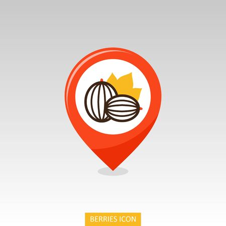 Gooseberry pin map icon. Gooseberry berry fruit sign. Map pointer. Map markers. Vector illustration for food apps and websites