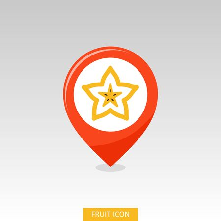 Starfruit Carambola Carom pin map icon. Tropical fruit sign. Map pointer. Map markers. Vector illustration for food apps and websites Illustration