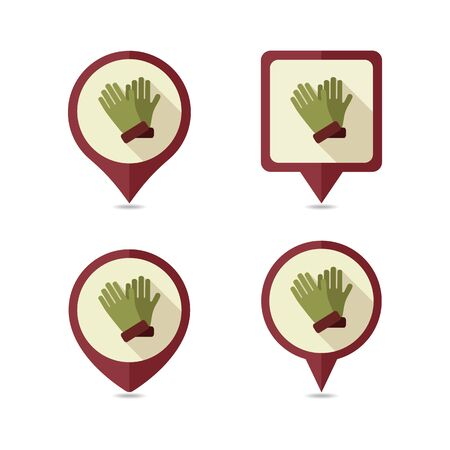 Rubber garden gloves flat vector pin map icon. Map pointer. Map markers. Icon rubber gloves for working in the garden. Icon household rubber gloves. Vector illustration. Vettoriali