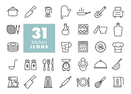 Cooking and kitchen vector icons set. Graph symbol for cooking web site design,   app, UI