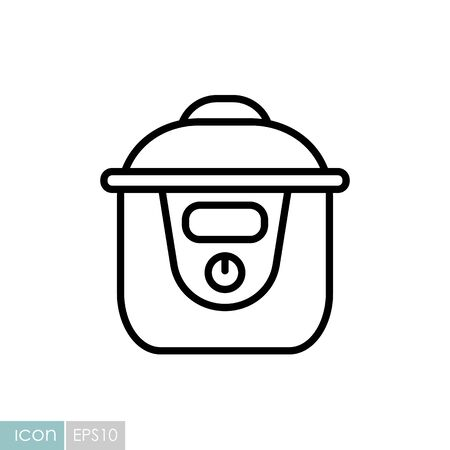 Slow cooking crock pot vector icon. Electric kitchen appliance. Graph symbol for cooking web Ilustracje wektorowe