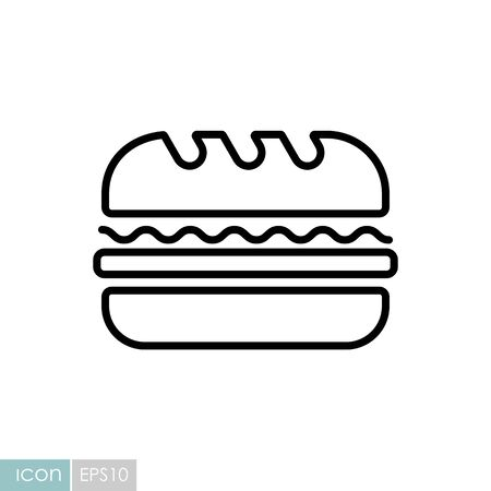 Subway Sandwich vector icon. Fast food sign. Graph symbol for cooking website and apps design, app, UI