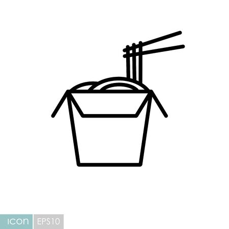 Noodles in thin line box with chopsticks vector icon. Fast food sign. Graph symbol for cooking website design, app, UI