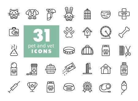 Pet and vet vector icon set. Graph symbol for pet and veterinary web site and apps design
