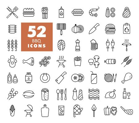 Barbecue and bbq grill icon set. Graph symbol for cooking web site and apps design, logo, app, UI