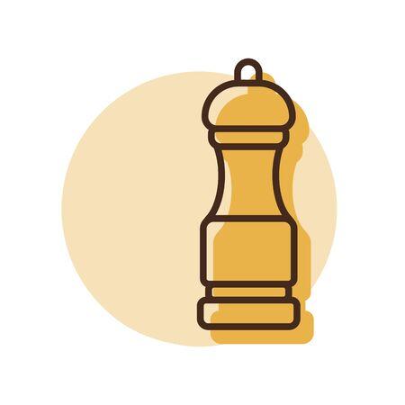 Pepper mill spice grinder vector icon. Kitchen appliance. Graph symbol for cooking web site design, logo, app, UI Illustration