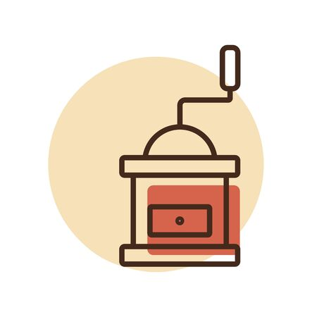 Classic coffee grinder in wooden case vector icon. Kitchen appliance. Graph symbol for cooking web site design, logo, app, UI Illustration