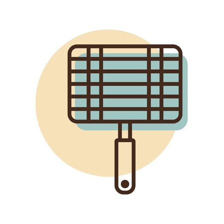 Barbecue, grill steel grid line icon. Graph symbol for cooking web site and apps design,  app, UI Ilustracja