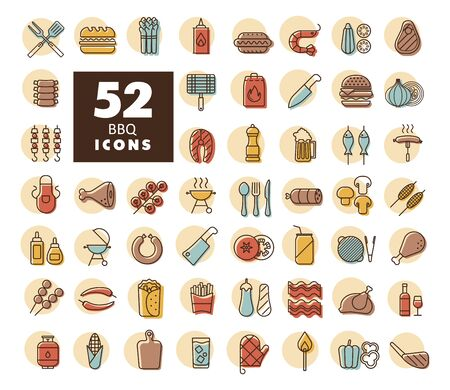 Barbecue and bbq grill icon set. Graph symbol for cooking web site and apps design, app, UI Ilustracja
