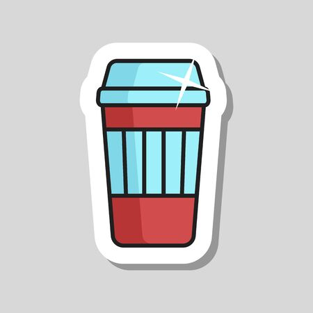 Takeaway paper coffee cup vector icon. Fast food sign. Graph symbol for cooking web site and apps design, app, UI Çizim