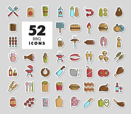 Barbecue and bbq grill icon set. Graph symbol for cooking web site and apps design Ilustracja