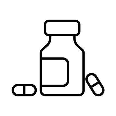 Medicine bottle and pills vector icon. Medicament. Medicine and medical support sign. Graph symbol for medical web site and apps design, app, UI Ilustração