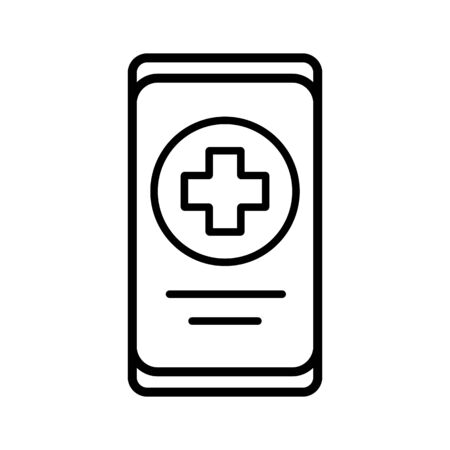 Smartphone with medical cross vector icon. Medicine and medical support sign. Graph symbol for medical web site and apps design,  app, UI Vectores