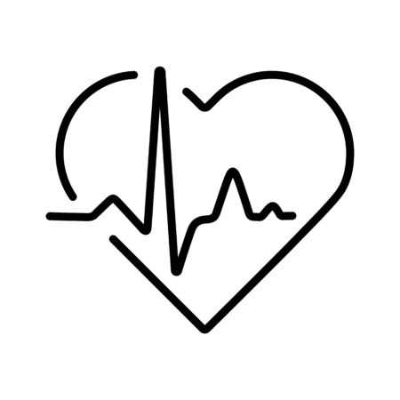 Heart cardiogram, heartbeat vector icon. Medicine and medical support sign. Graph symbol for medical web site and apps design,   app, UI
