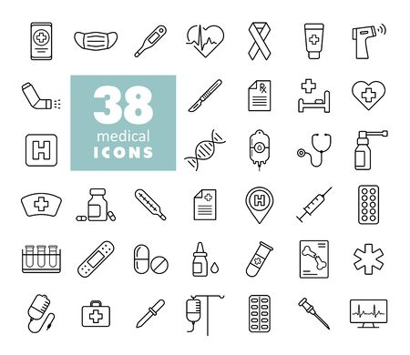 Medical vector icons set. Medicine and healthcare, medical support sign. Graph symbol for medical web site and apps design,   app, UI