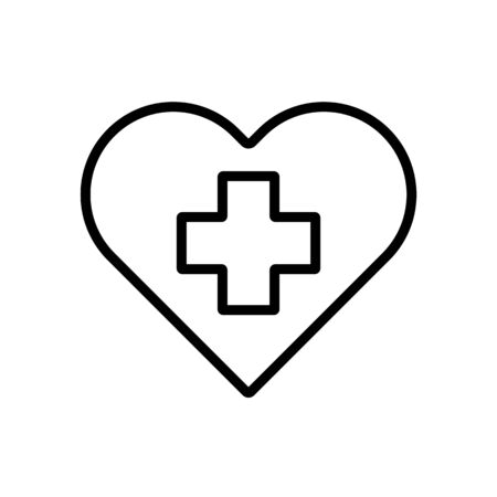 Cross inside heart vector icon. Medicine and healthcare, medical support sign. Graph symbol for medical web site and apps design,  app, UI