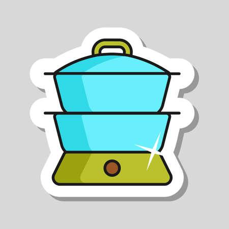 Double boiler vector icon. Kitchen appliance. Graph symbol for cooking web site design, logo, app, UI