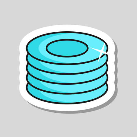 Plates, dishes vector icon. Kitchen appliance. Graph symbol for cooking web site design, logo, app, UI  イラスト・ベクター素材