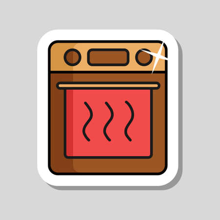 Electric oven vector kitchen icon. Graph symbol for cooking web site design, logo, app, UI Illustration
