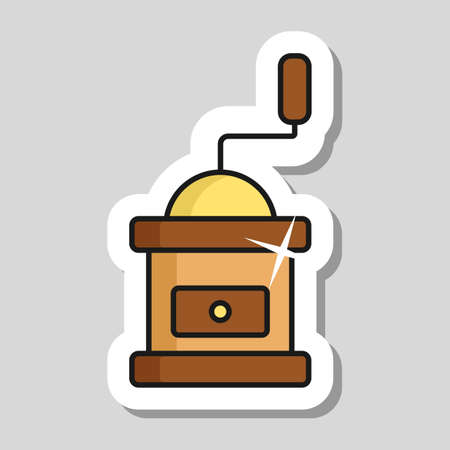 Classic coffee grinder in wooden case vector icon. Kitchen appliance. Graph symbol for cooking web site design, logo, app, UI Illusztráció