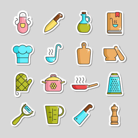Cooking foods and kitchen vector icon set. Graph symbol for cooking web site and apps design,   app, UI