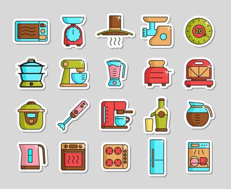 Kitchen appliances electronic electrical equipment tool vector icon set. Graph symbol for cooking web site and apps design,  app, UI