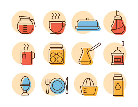 Breakfast and kitchen vector icon set. Graph symbol for cooking web site and apps design, app, UI Illustration