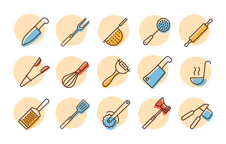 Kitchenware and kitchen vector icon set. Graph symbol for cooking web site and apps design,  app, UI
