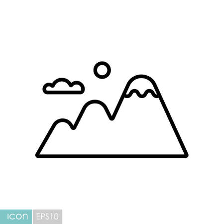 Mountains vector icon. Nature sign. Graph symbol for travel and tourism web site and apps design Illustration