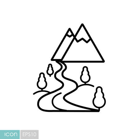 Mountain and river vector icon. Nature sign. Graph symbol for travel and tourism web site and apps design Illustration