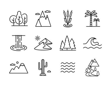 Vector nature icons set: desert, mountains, forest, river, sea, lake. Graph symbol for travel and tourism web site and apps design